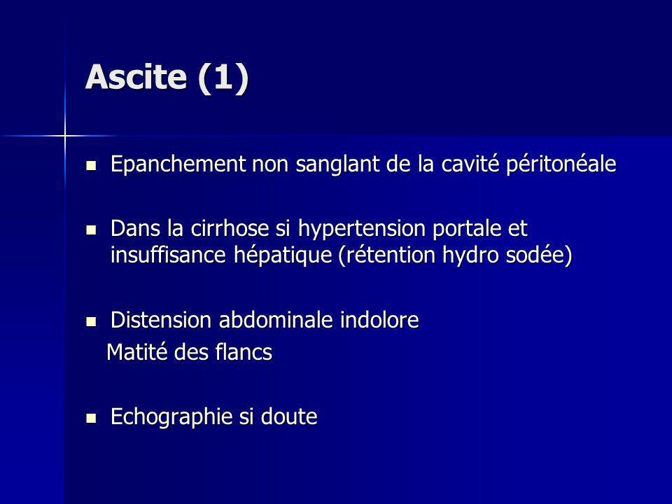 Ascite (1) Epanchement non sanglant de la cavité péritonéale