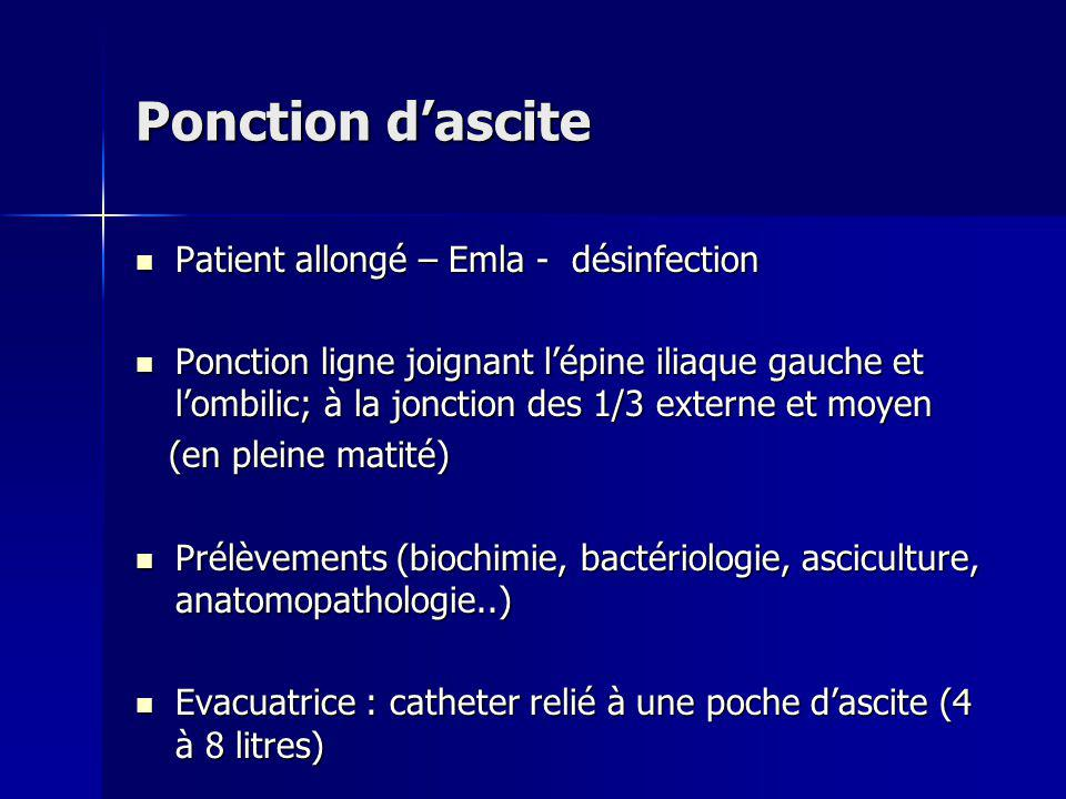 Ponction d'ascite Patient allongé – Emla - désinfection