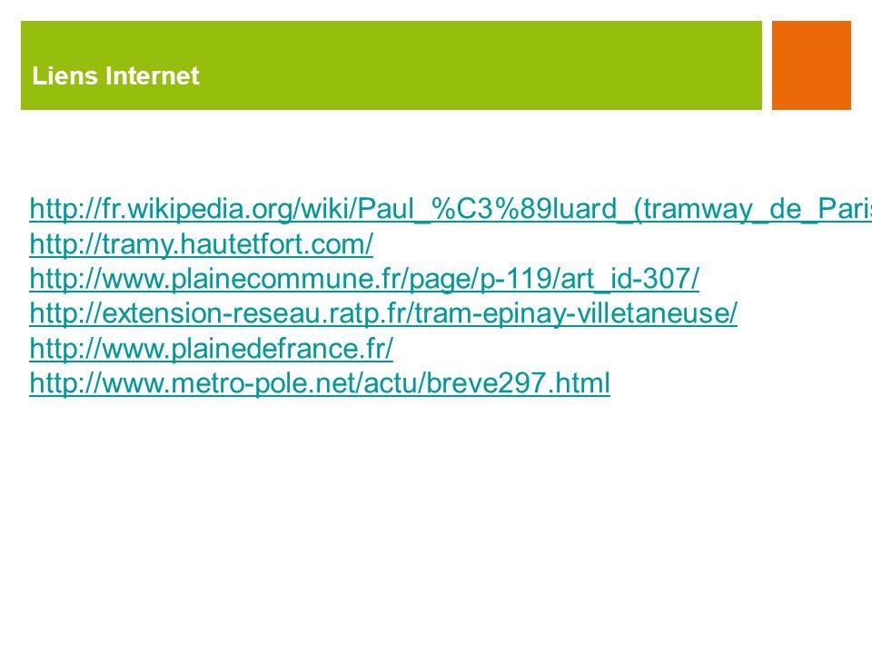 Liens Internet http://fr.wikipedia.org/wiki/Paul_%C3%89luard_(tramway_de_Paris) http://tramy.hautetfort.com/