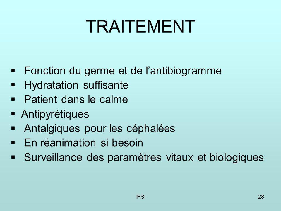 TRAITEMENT Fonction du germe et de l'antibiogramme