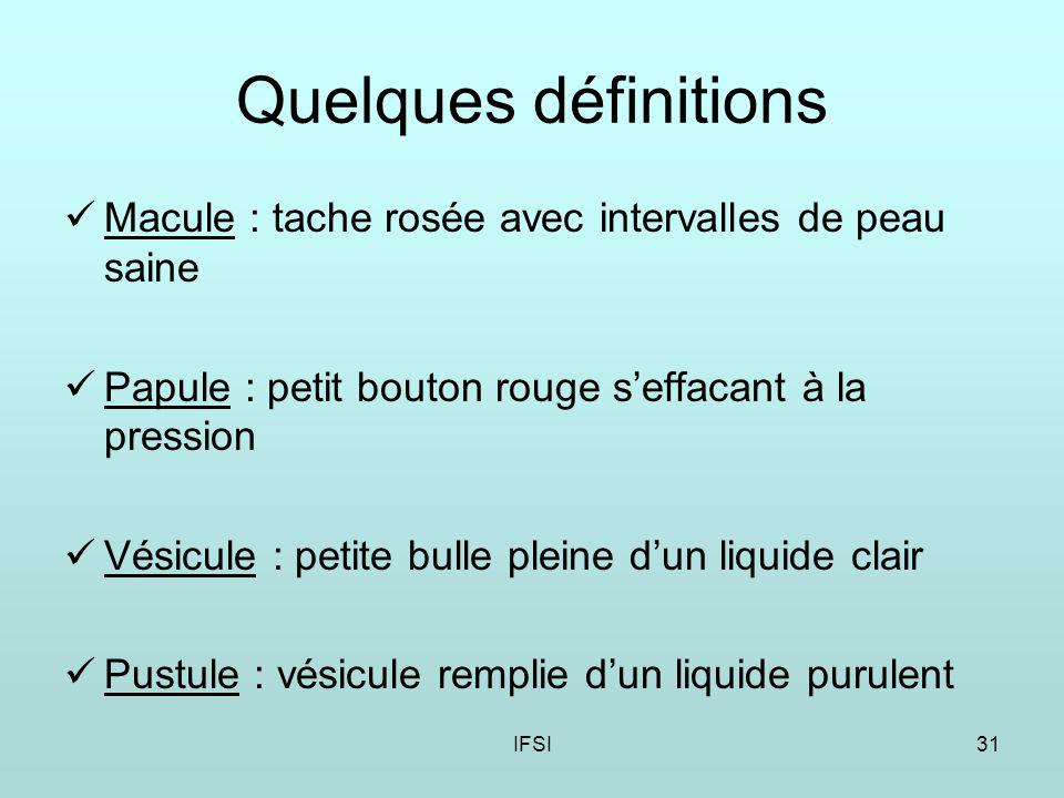 Quelques définitions Macule : tache rosée avec intervalles de peau saine. Papule : petit bouton rouge s'effacant à la pression.