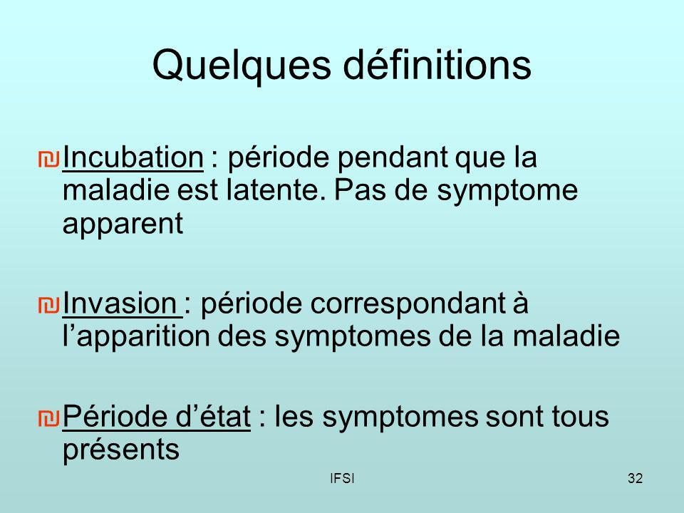 Quelques définitions Incubation : période pendant que la maladie est latente. Pas de symptome apparent.