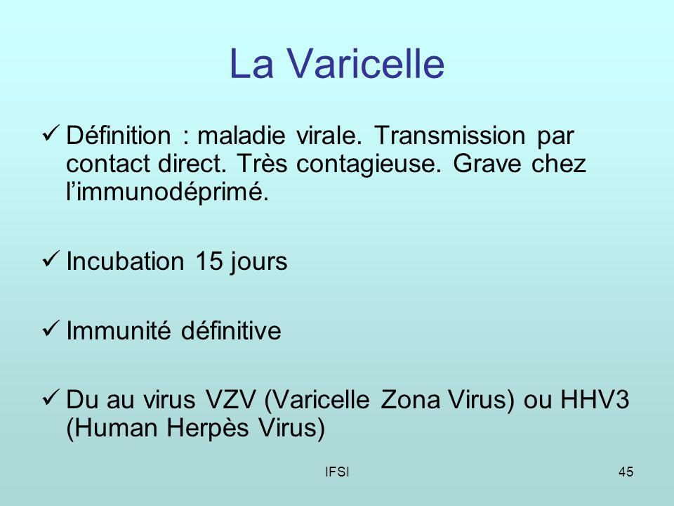 La Varicelle Définition : maladie virale. Transmission par contact direct. Très contagieuse. Grave chez l'immunodéprimé.