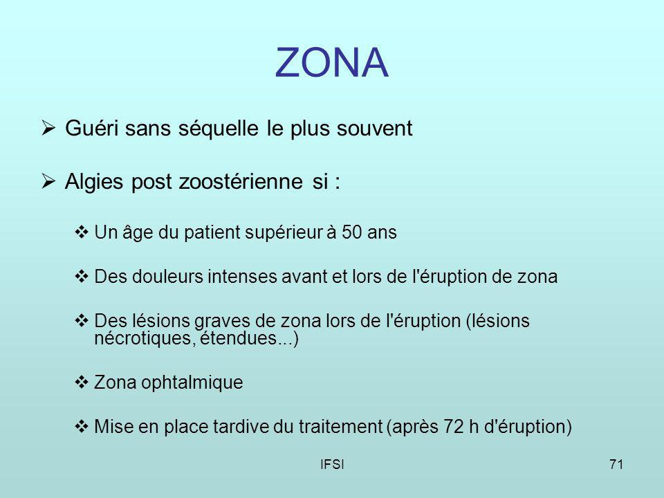 ZONA Guéri sans séquelle le plus souvent Algies post zoostérienne si :