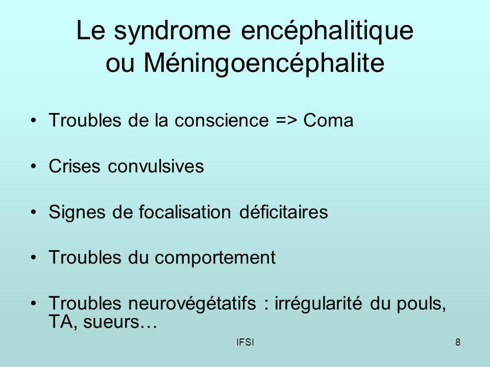 Le syndrome encéphalitique ou Méningoencéphalite