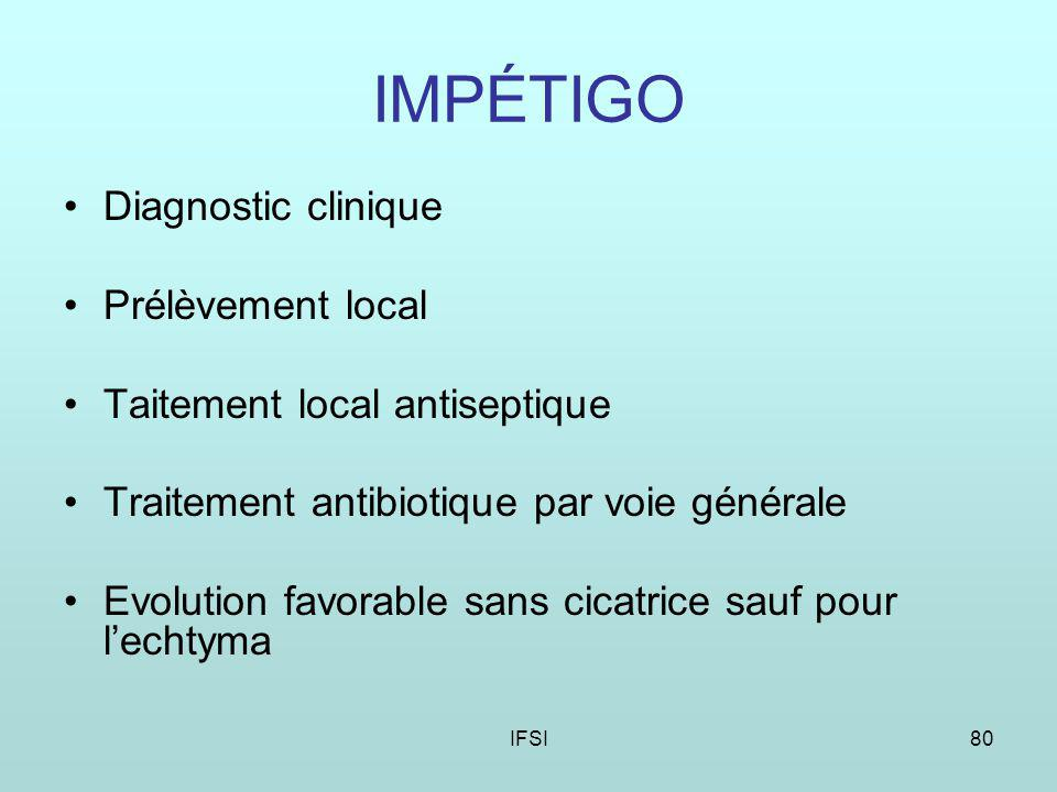 IMPÉTIGO Diagnostic clinique Prélèvement local