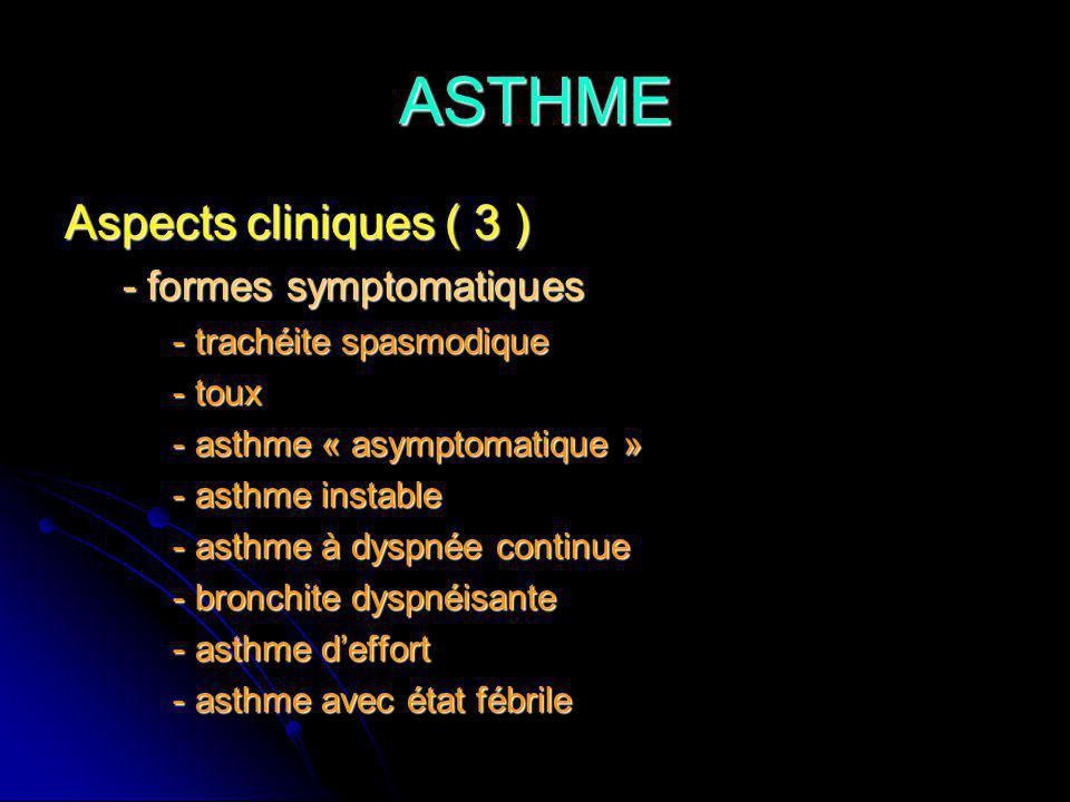 ASTHME Aspects cliniques ( 3 ) - formes symptomatiques