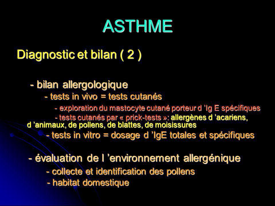ASTHME Diagnostic et bilan ( 2 ) - bilan allergologique