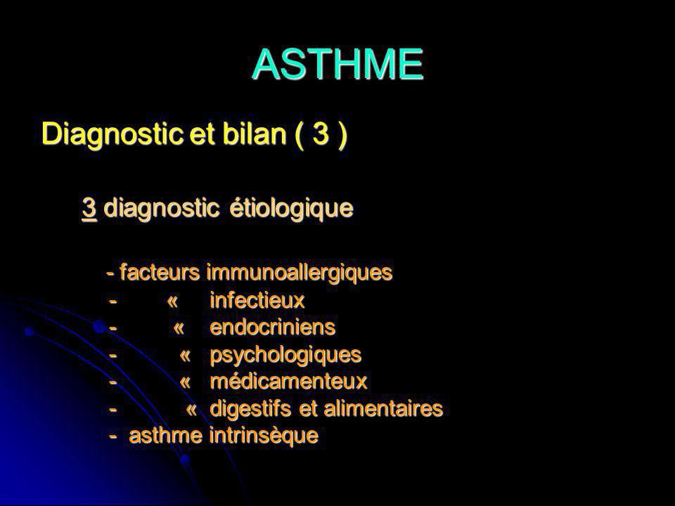 ASTHME Diagnostic et bilan ( 3 ) 3 diagnostic étiologique