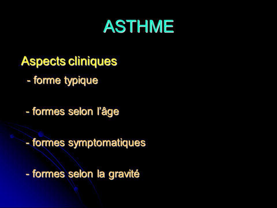 ASTHME Aspects cliniques - forme typique - formes selon l'âge
