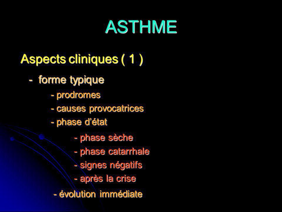 ASTHME - forme typique Aspects cliniques ( 1 ) - phase sèche