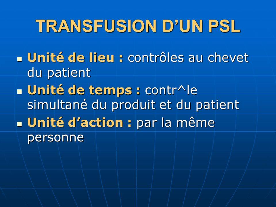 TRANSFUSION D'UN PSL Unité de lieu : contrôles au chevet du patient