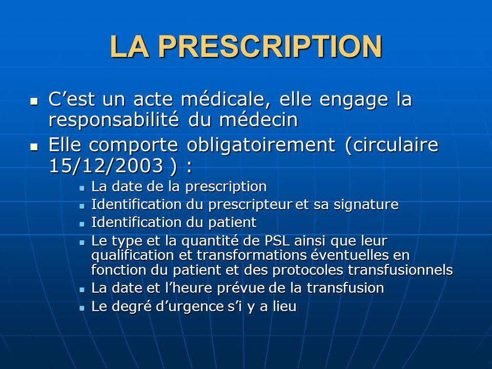 LA PRESCRIPTION C'est un acte médicale, elle engage la responsabilité du médecin. Elle comporte obligatoirement (circulaire 15/12/2003 ) :