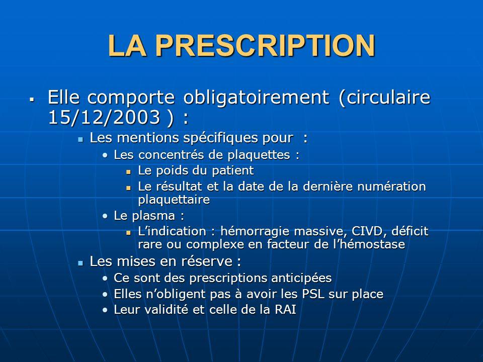 LA PRESCRIPTION Elle comporte obligatoirement (circulaire 15/12/2003 ) : Les mentions spécifiques pour :
