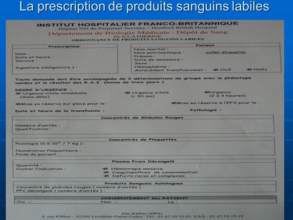 La prescription de produits sanguins labiles