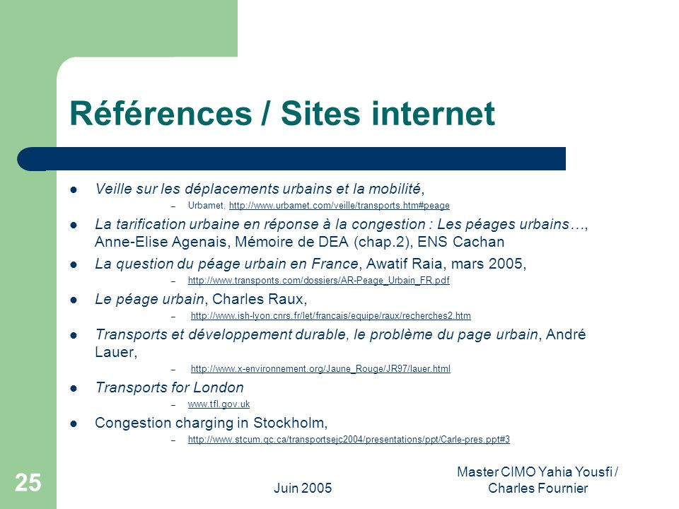 Références / Sites internet