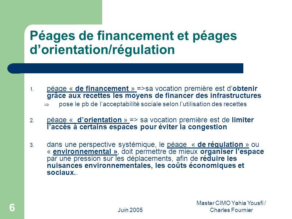 Péages de financement et péages d'orientation/régulation