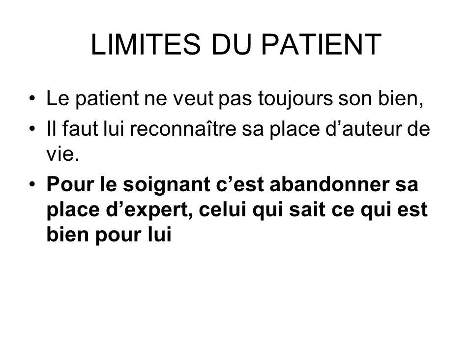 LIMITES DU PATIENT Le patient ne veut pas toujours son bien,
