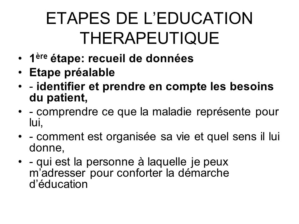 ETAPES DE L'EDUCATION THERAPEUTIQUE