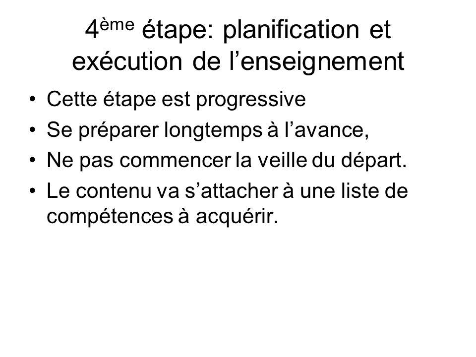4ème étape: planification et exécution de l'enseignement