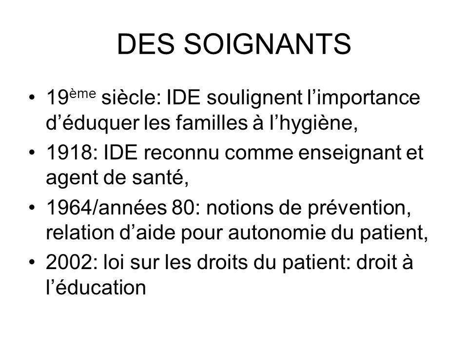 DES SOIGNANTS 19ème siècle: IDE soulignent l'importance d'éduquer les familles à l'hygiène, 1918: IDE reconnu comme enseignant et agent de santé,