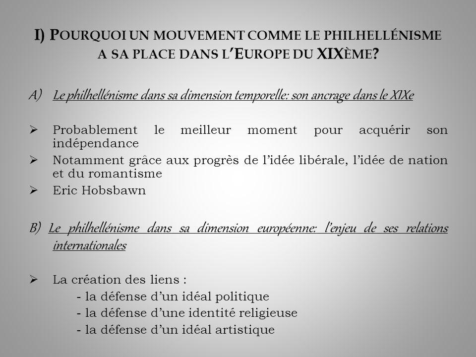 I) Pourquoi un mouvement comme le philhellénisme a sa place dans l'Europe du XIXème