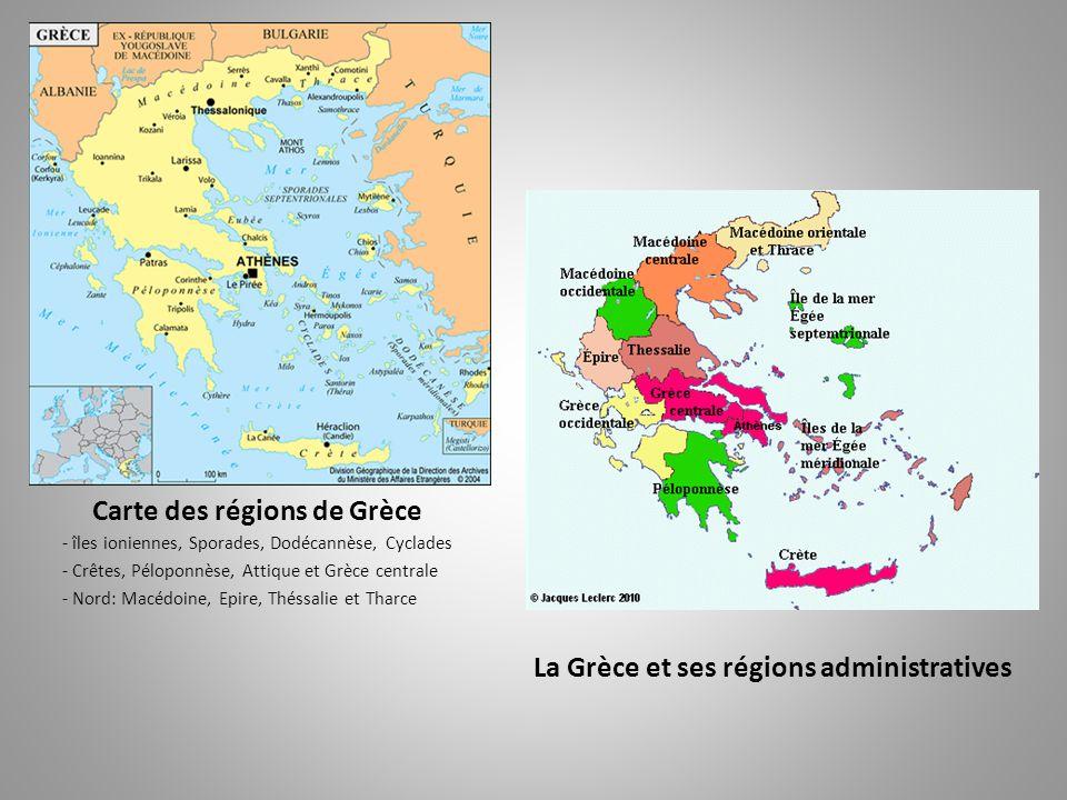Carte des régions de Grèce