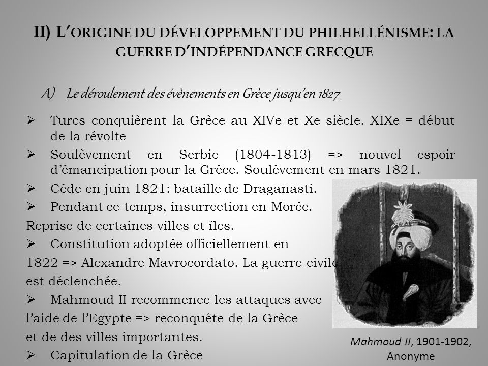 Le déroulement des évènements en Grèce jusqu'en 1827