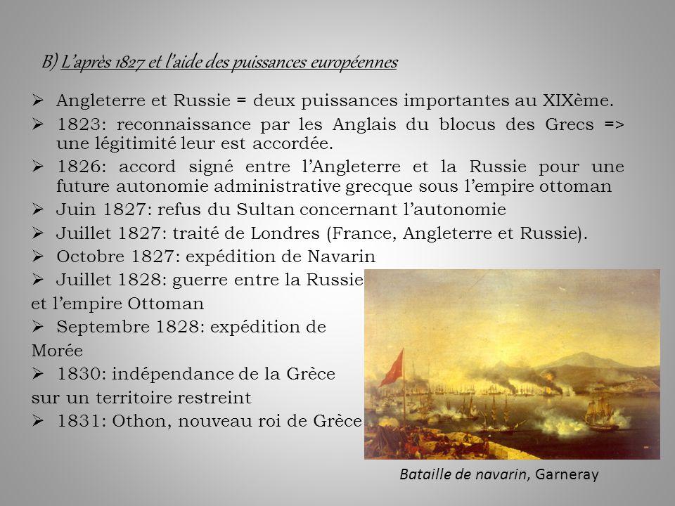 B) L'après 1827 et l'aide des puissances européennes