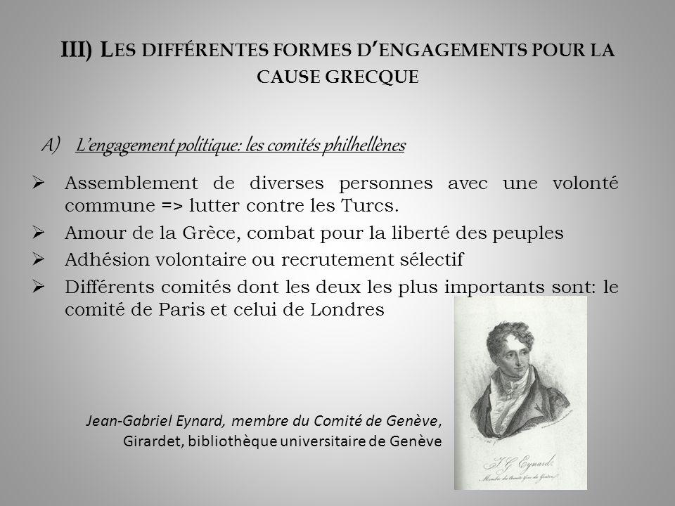 III) Les différentes formes d'engagements pour la cause grecque