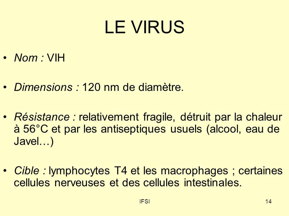 LE VIRUS Nom : VIH Dimensions : 120 nm de diamètre.