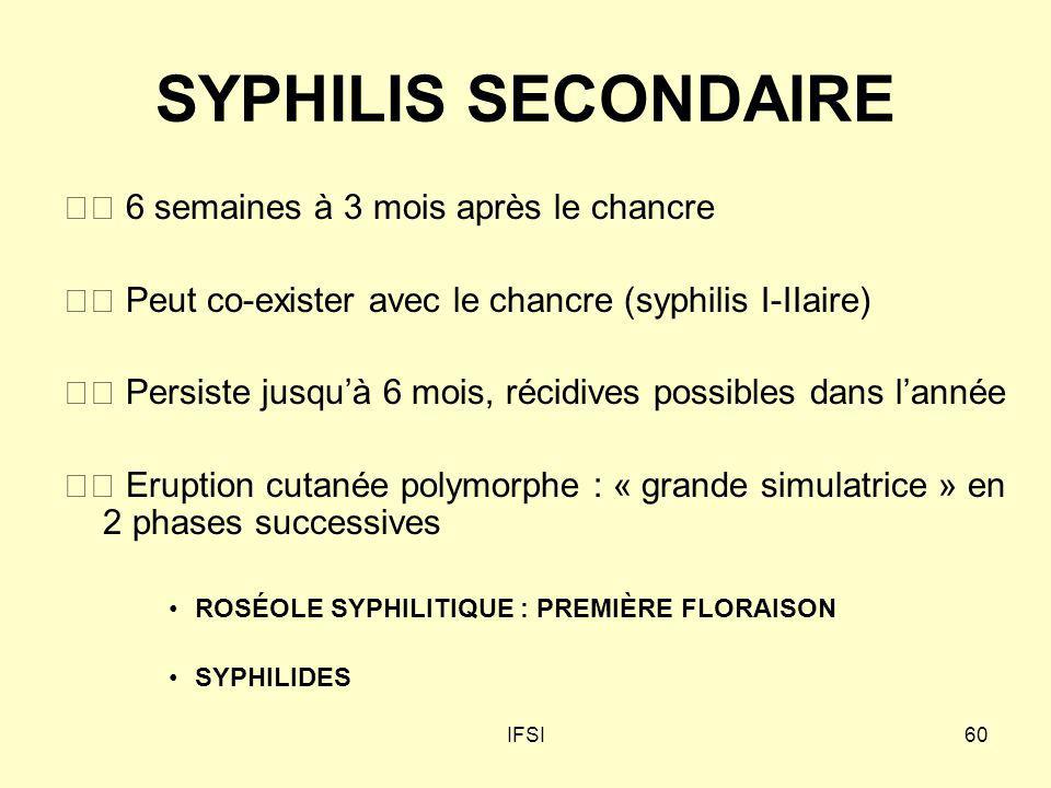 SYPHILIS SECONDAIRE  6 semaines à 3 mois après le chancre