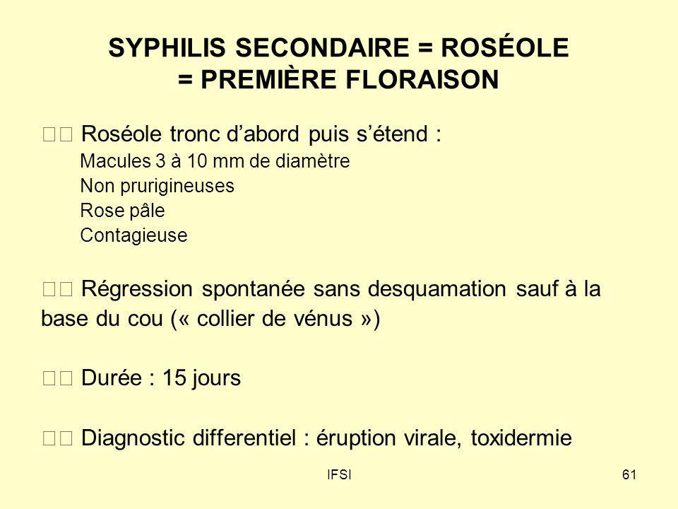SYPHILIS SECONDAIRE = ROSÉOLE = PREMIÈRE FLORAISON