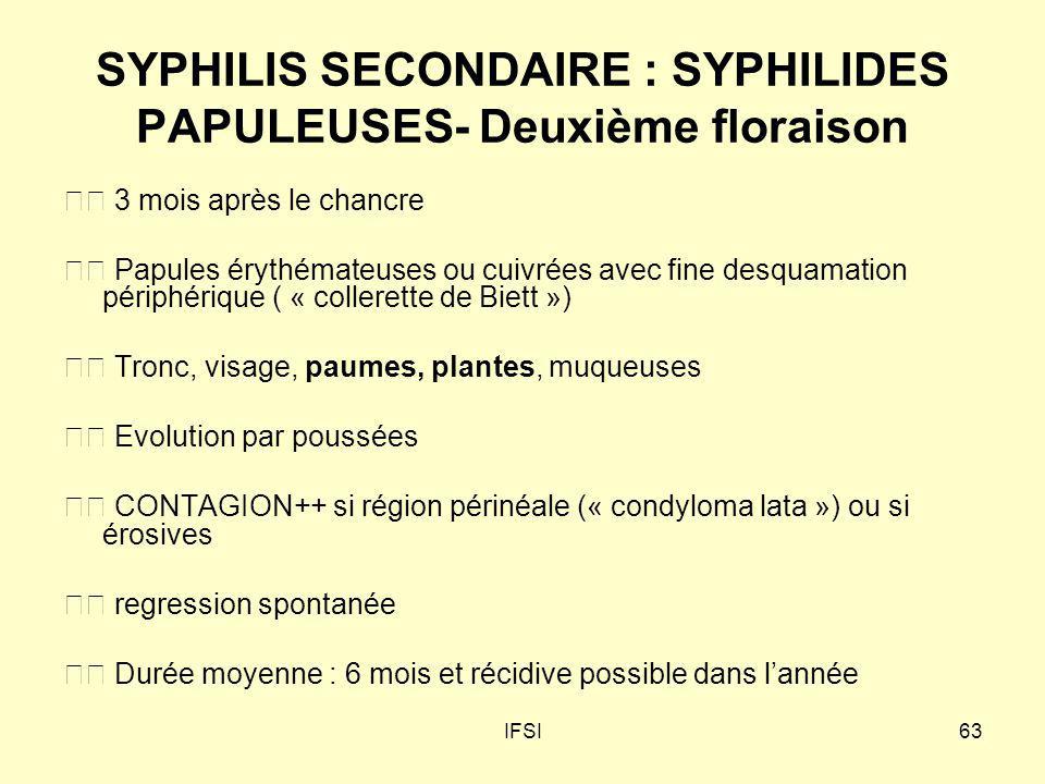 SYPHILIS SECONDAIRE : SYPHILIDES PAPULEUSES- Deuxième floraison