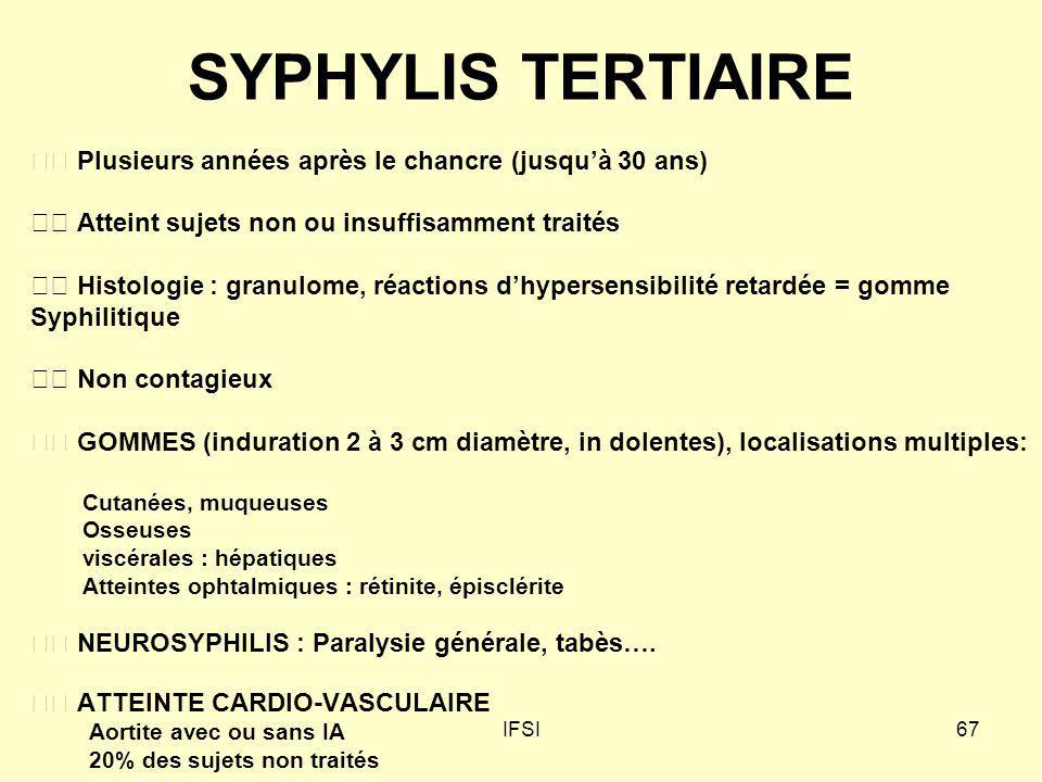 SYPHYLIS TERTIAIRE  Plusieurs années après le chancre (jusqu'à 30 ans)  Atteint sujets non ou insuffisamment traités.