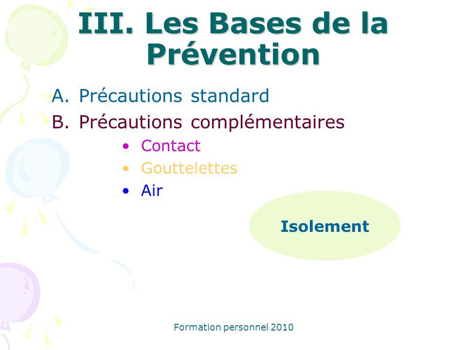 III. Les Bases de la Prévention