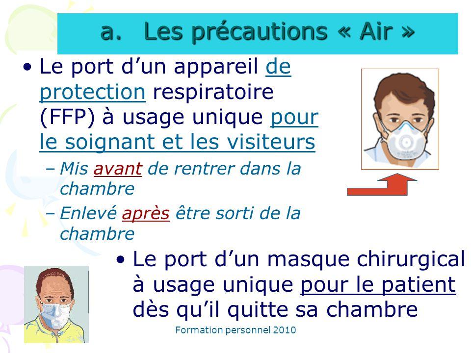 Les précautions « Air » Le port d'un appareil de protection respiratoire (FFP) à usage unique pour le soignant et les visiteurs.