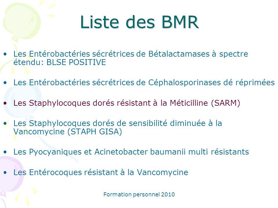 Liste des BMR Les Entérobactéries sécrétrices de Bétalactamases à spectre étendu: BLSE POSITIVE.
