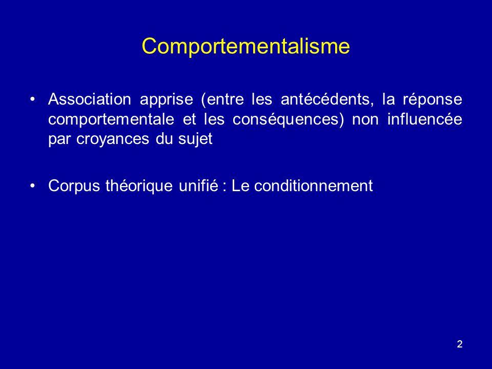 Comportementalisme Association apprise (entre les antécédents, la réponse comportementale et les conséquences) non influencée par croyances du sujet.