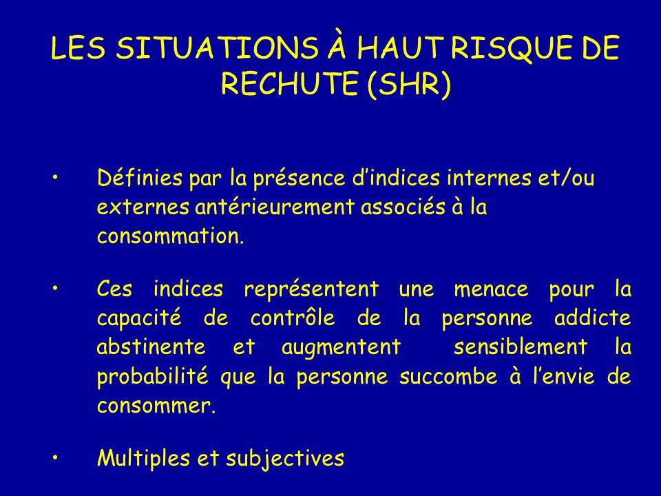 LES SITUATIONS À HAUT RISQUE DE RECHUTE (SHR)
