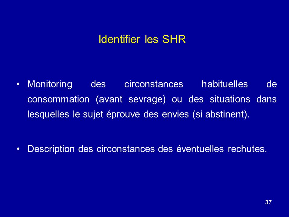 Identifier les SHR