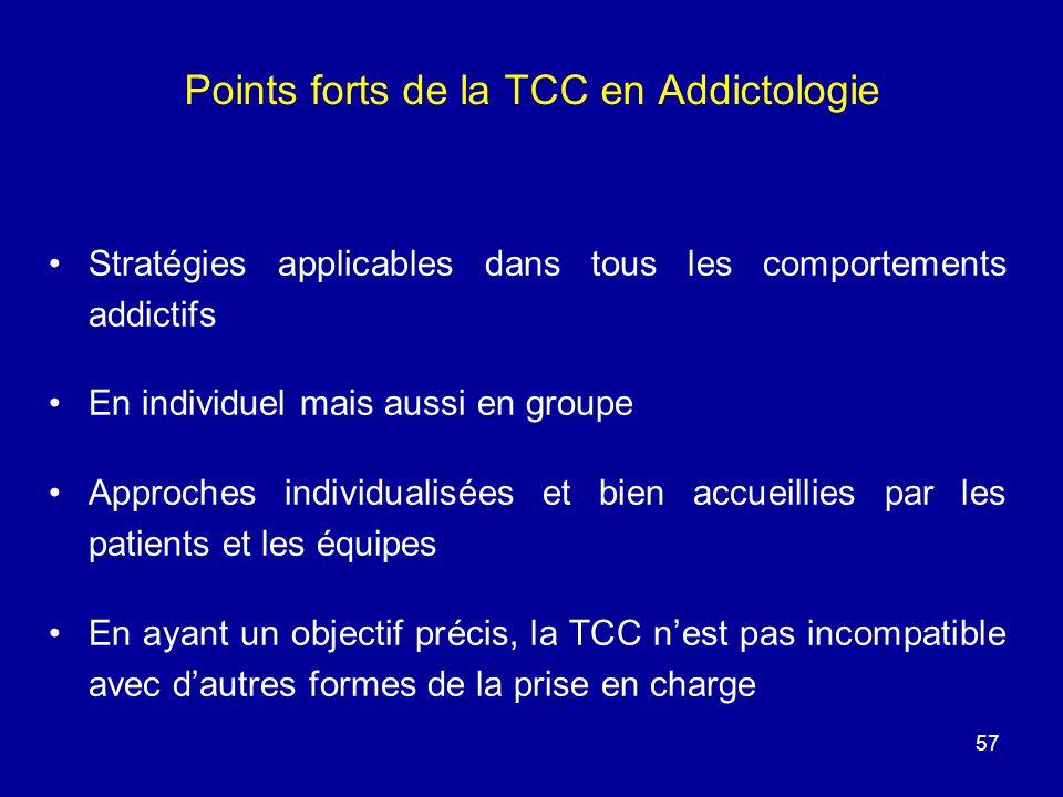 Points forts de la TCC en Addictologie