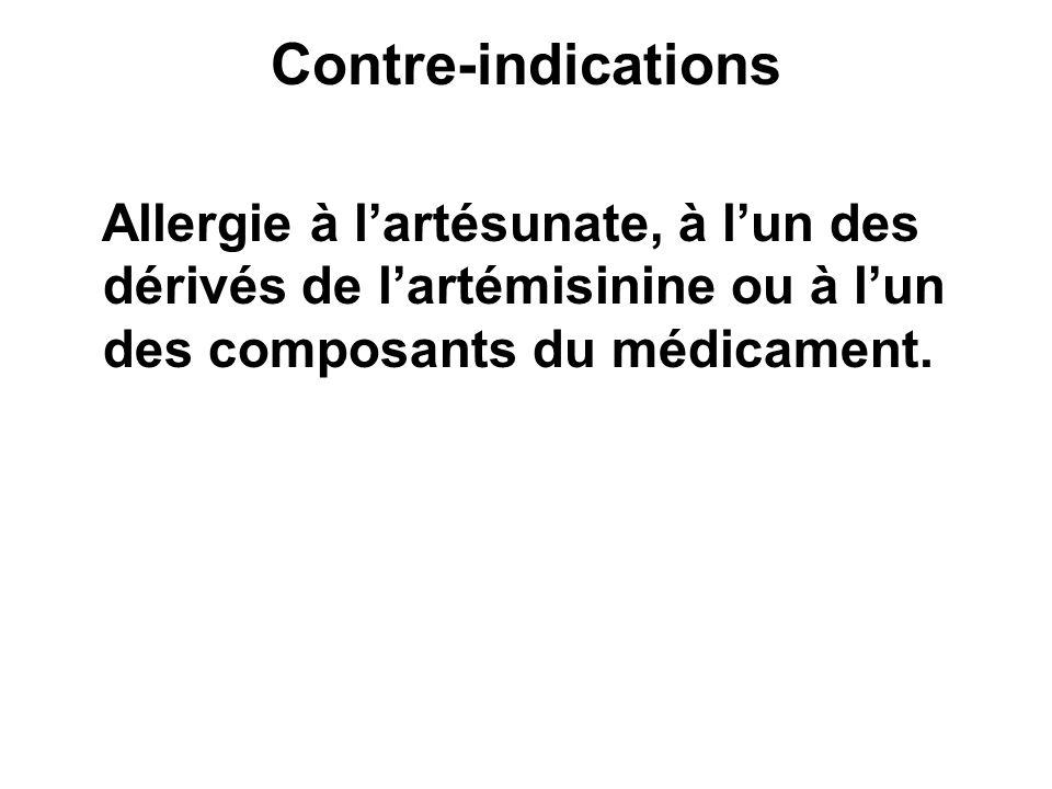 Contre-indications Allergie à l'artésunate, à l'un des dérivés de l'artémisinine ou à l'un des composants du médicament.