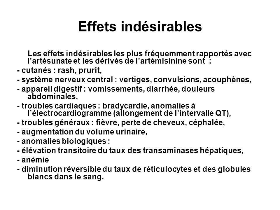 Effets indésirables Les effets indésirables les plus fréquemment rapportés avec l'artésunate et les dérivés de l'artémisinine sont :