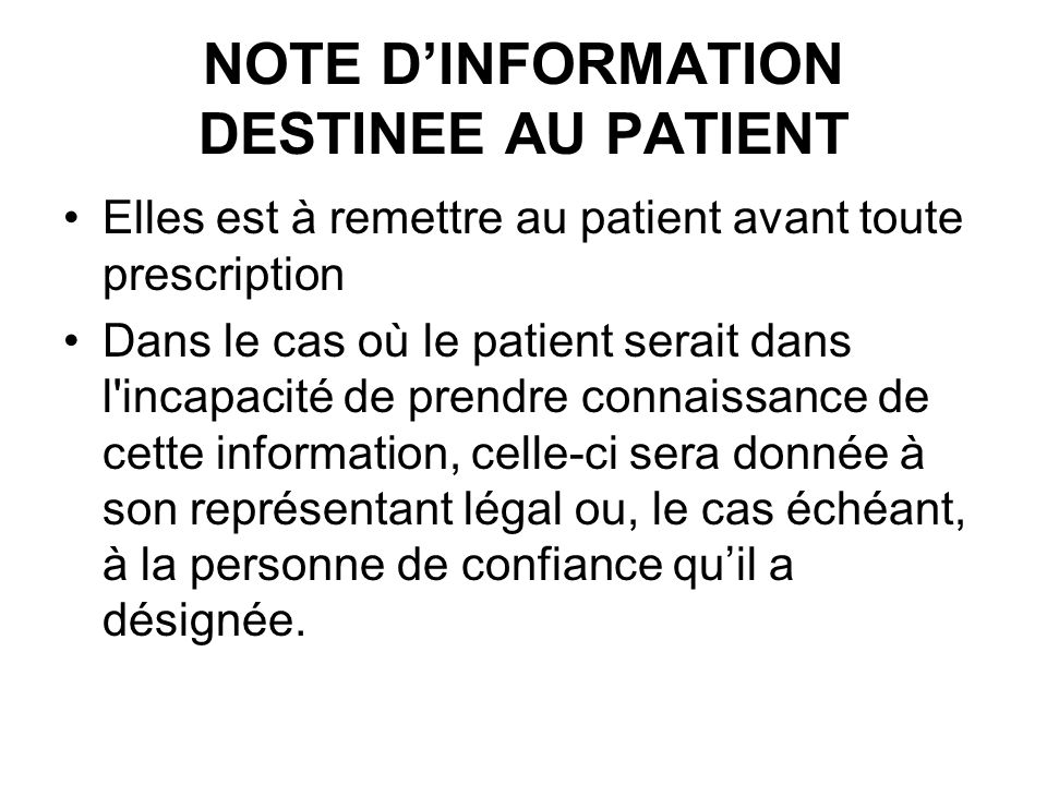 NOTE D'INFORMATION DESTINEE AU PATIENT