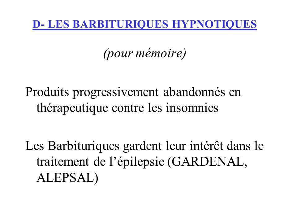 D- LES BARBITURIQUES HYPNOTIQUES (pour mémoire)