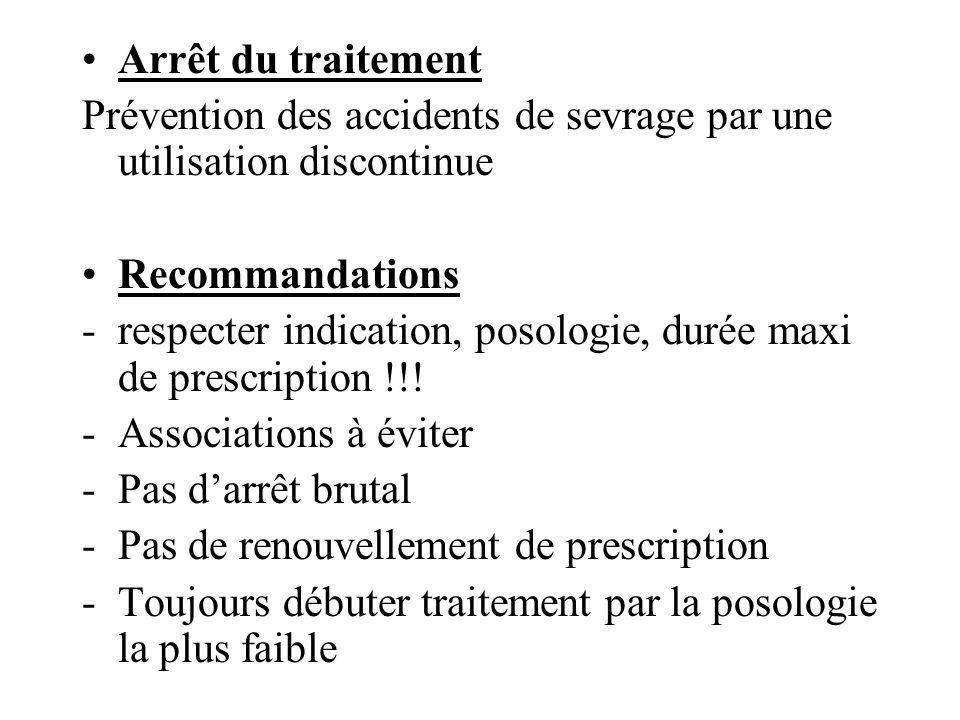 Arrêt du traitement Prévention des accidents de sevrage par une utilisation discontinue. Recommandations.