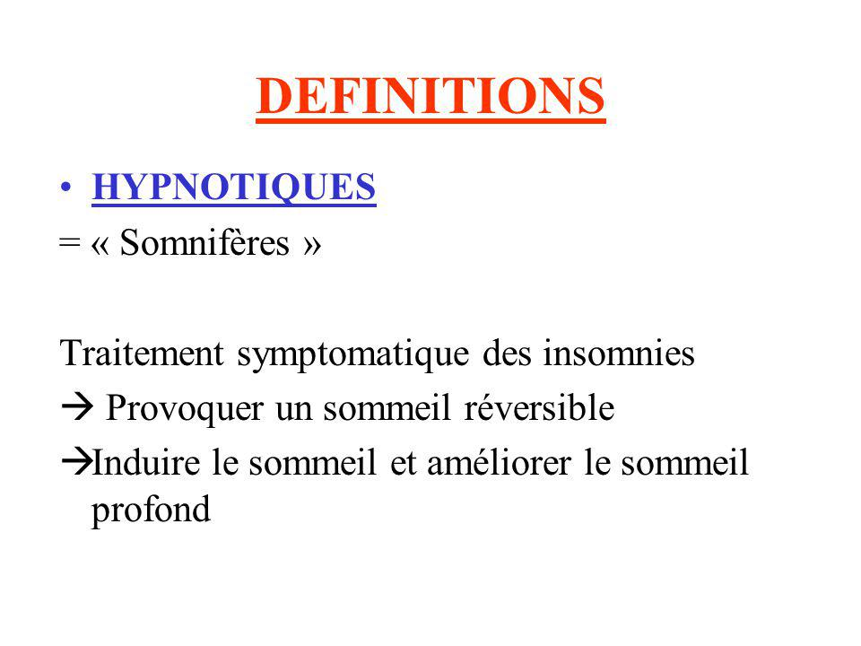DEFINITIONS HYPNOTIQUES = « Somnifères »
