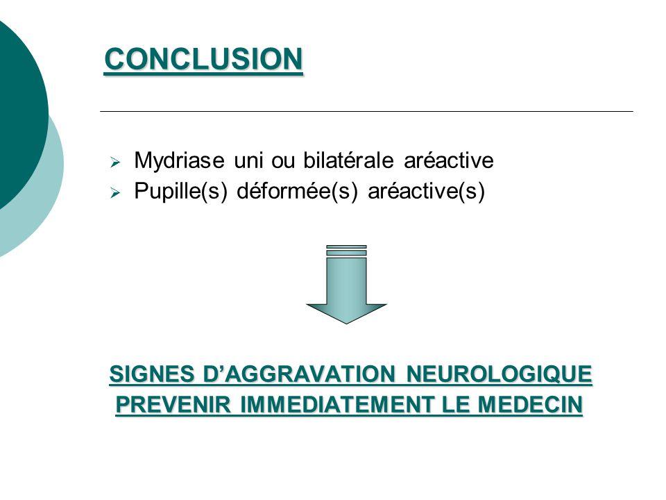 CONCLUSION Mydriase uni ou bilatérale aréactive