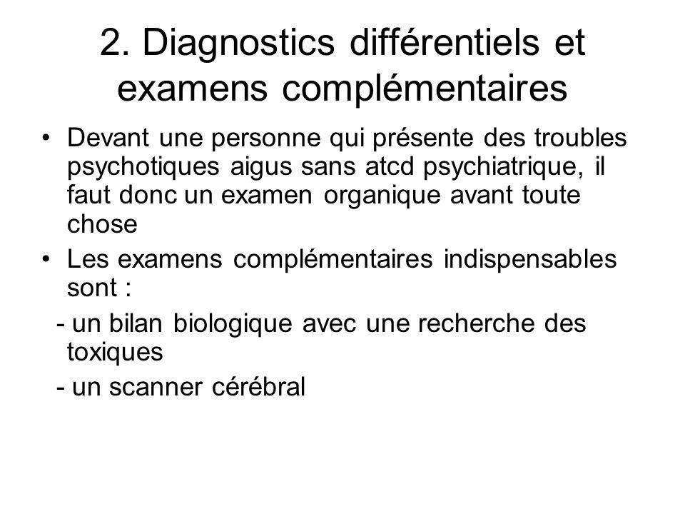 2. Diagnostics différentiels et examens complémentaires